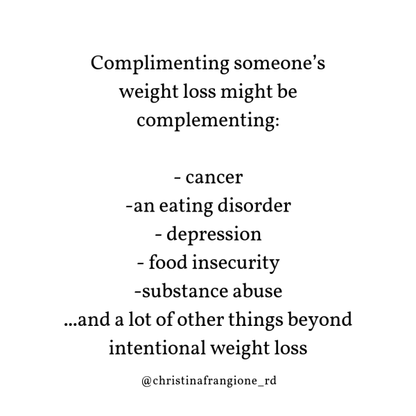 complimenting weight loss