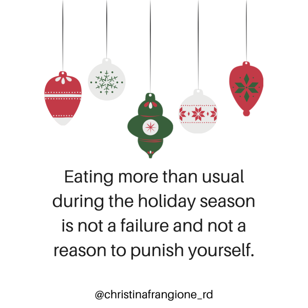 eating more than usual during the holiday season is not a failure and not a reason to punish yourself