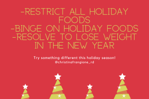 Just Because It's December, Does not mean you need to do the restrict, binge, diet cycle