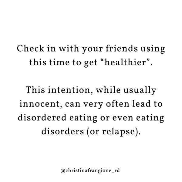 check in with your friends using this time to get healthier